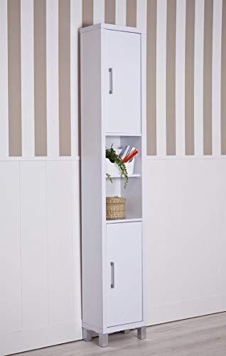 Topkit | Mueble Baño | Estanteria de Baño Gala 8901 | Medidas 192,5x33x23 cm | Armario de baño| Accesorios baño sin Taladro| Columna Auxliar de Baño | Blanco