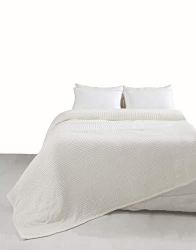 EHC Manta de algodón grueso para cama y sofá – color carbón/marfil, 100% algodón algodón, crema, King(225 x 250 cm)