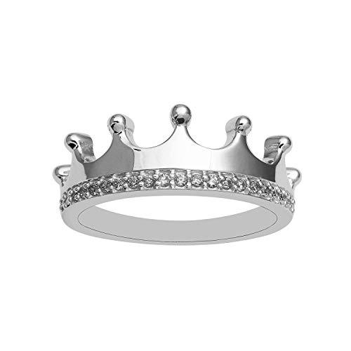 925 Sterling Silber Indianer, heiß, meistverkaufte Krone mit Zirkonia Hochzeit Verlobungsband (49 (15.6))