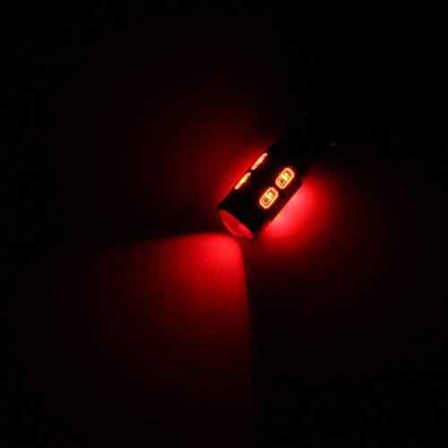 2pcs T10 W5W Lado de coche LOGO LED LED Bombilla de cuña con bulbo de lentes 5W 450LM DC12V Hudson Studio (Color : Red)