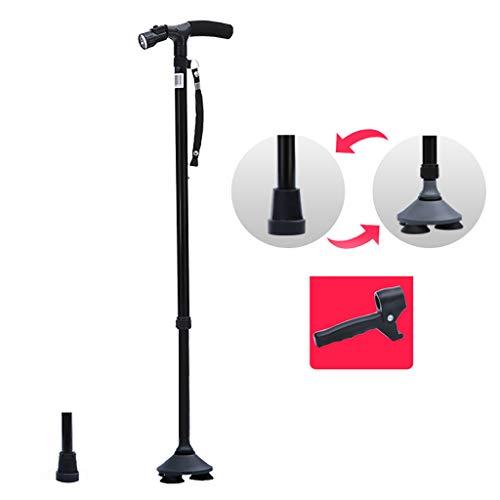 XUEPING Walking Stick, Aluminium Riet, Crutch Zaklampen, T-handvat 10-speed Expansie 45° Verstelbare Lamp Hoofd Eén Voet 3 Voet Interchange 89-102cm zwart