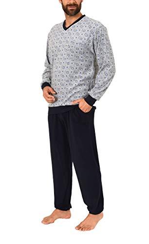 Herren Frottee Schlafanzug Pyjama lang mit Bündchen - auch in Übergrössen erhätlich 59673, Größe2:50, Farbe:grau-Melange