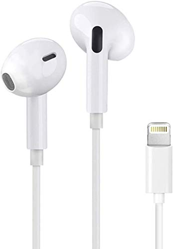 Lightning AUX Headphones/Earbuds Compatible with iPhone 12/11 Pro Max/iPhone X XS XR/iPhone 7 8 Plus/iPhone 7 6 5[Apple MFi Certified] Built-in Microphone & Volume Control&Support Call-All iOS System