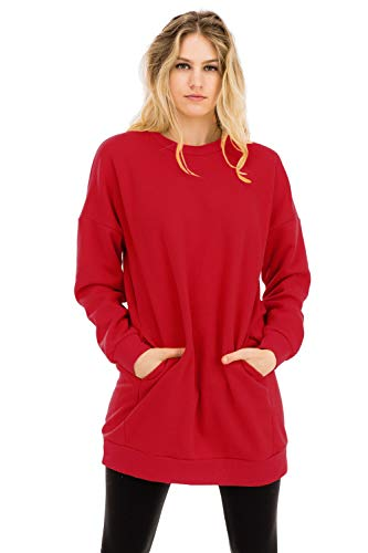 Casual Loose Fit Long Sleeves Over-Sized Crew Neck Sweatshirts Ruby 2X