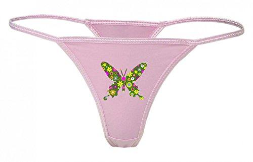 Druckerlebnis24 String Tanga Retro- Blumen- DEKORATIV- ZIER- Kunst- Schmetterling- INSEKT- FLIEGEN- FLÜGEL- Tier XS- XXL Damen String Sexy Unterhose