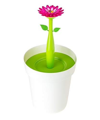 Vigar Flower Power Papelera para baño, Material: Polipropileno, Goma, Asa: Acero, Blanco, Dimensiones: 21 x 20.5 x 26.5 cm