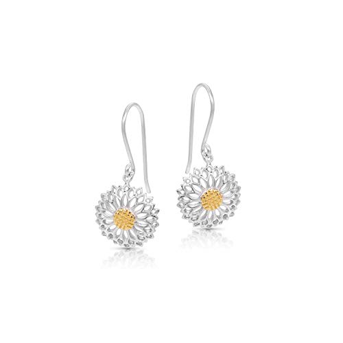 Golden Pollen Sunflower (Helianthus) Earring Set, Never Rust 925 Sterling Silver Natural and Hypoallergenic Hooks For Women and Girls with Free Breathtaking Gift Box for a Special Moment of Love