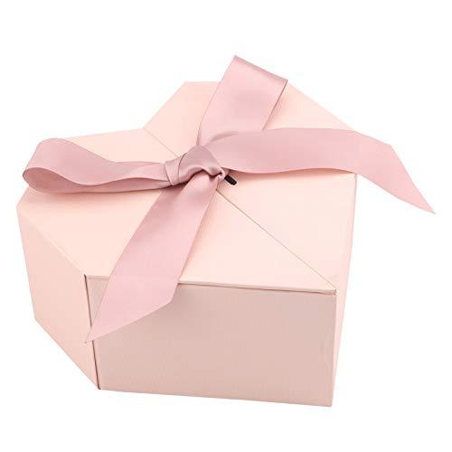 Geschenkbox mit Schleife, dekorative Leckerli-Boxen mit Deckel, Herzförmig Karton Geschenke Kosmetik Schmuck Präsentationsbox für Weihnachten Geburtstag Urlaub Hochzeit Valentinstag Jahrestag, Rosa