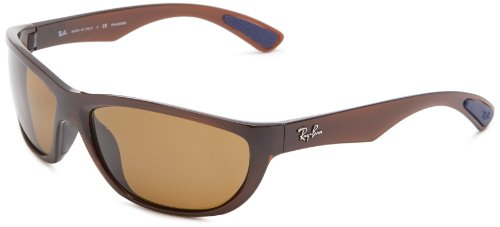 Ray-Ban RB4188 Wrap Sunglasses, Shiny Brown/Brown Polarized, 63 mm