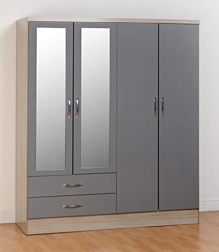 Seconique Nevada 4 Door 2 Drawer Wardrobe, Grey