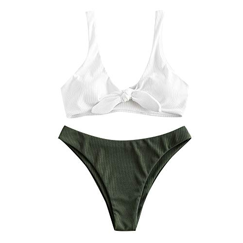 ZAFUL Damen Gerippter Geknoteter U-Ausschnitt Bikini Swimsuit Weiß L