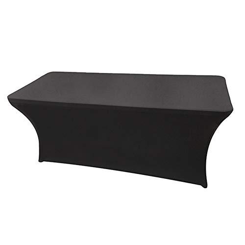 SXSHUN Mantel Elástico Ajustable para Mesa Rectangular Cubierta de Mesa para Banquetes de Boda Reuniones Funda Elástica de Mesa, Negro, 183 * 74 * 76