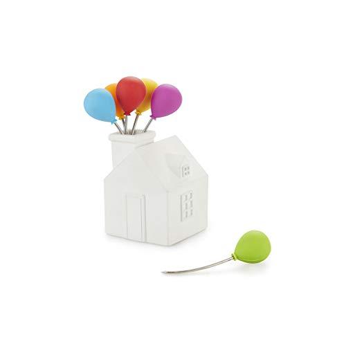 Balvi Forchettina aperitivo House Balloon Colore Bianco forchettine in Acciaio Inox per Dolci e Snack in Forma di casa con Palloncini Che escono dal Camino Cemento/Acciaio Inox/Silicone 11x5,5x5,5