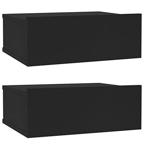 vidaXL 2X Mesitas de Noche Flotantes Aglomerado Mobiliario Elegantes Clásicas Modernas Prácticas Duraderas Resistentes Funcionales Negras 40x30x15cm