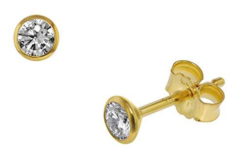 trendor Ohrstecker für Damen und Herren 585 Gold (14 Kt) Zirkonia 4,0 mm 75099