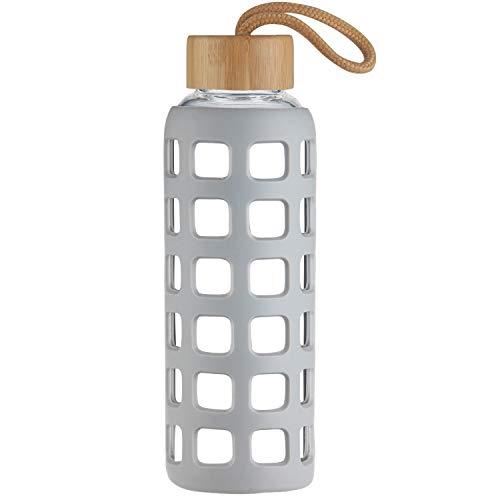 Cleesmil Botella de Agua de Cristal de Deporte con Funda de Silicona con Tapa de Bambú 1000 ml (Gris)
