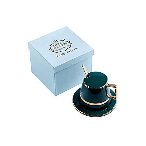 Taza de café Taza de café de cerámica Taza de té de mármol, con la cuchara y la taza de la taza y la base de la taza del regalo retro de la caja de regalo de la caja de regalo y la oficina del hogar