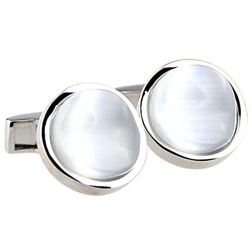 G&UWEI Rotonda Gemelli Lucidi Opal Uomo, White Opal Gemelli, Camicia Mens Gemelli per I Monili di Feste di Nozze Regali