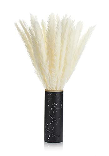 Kesign Pampasgras weiß und fluffig mit integrierter Vase in Marmoroptik - 30 Stück Trockenblumen - Deko Wohnzimmer modern, Vintage Deko Schlafzimmer Deko Badezimmer - DER Blickfang für die Wohnung
