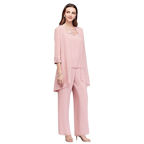 Lace-Detailed Georgette Three-Piece Pantsuit Style 26335, Dusty Rose, 8