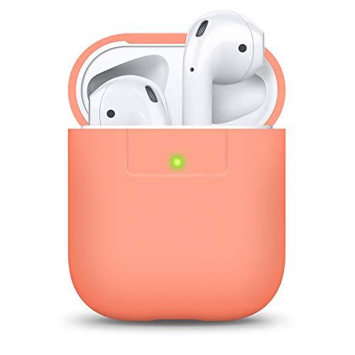 elago AirPods Silikonhülle Kompatibel mit Apple AirPods 1 & 2 - Unterstützt Kabelloses Laden, Stoßfeste Schutzhülle, Perfekter Sitz (Pfirsich)