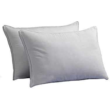 FIRM Exquisite Hotel Luxury Plush Down-Alternative Pillows 2-Pack, King Size, Gel-Fiber Filled, Hypoallergenic, Peachy FIRM Microfiber Gusseted shell - FIRM Density, Ideal For Side/Back Sleepers