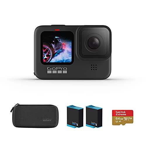 【国内正規品】GoPro HERO9 Black アクションカメラ ゴープロ 水中カメラ 人気アクションカム (GoPro HERO9Black +64GB認定SDカード+1720mAhバッテリー*2)【システムの問題なので、写真はミスがあって商品セット内容の説明文を参照してください】