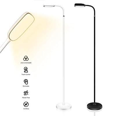 KOZIS Cordless Rechargeable Mini Floor Lamp | 3 Color Temperatures | Adjustable Gooseneck | Stepless Dimming | Task Lighting (White)