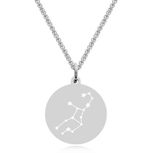 Timando Damen Kette Sternbild Jungfrau mit Gravur Sternzeichen Plättchen Anhänger Edelstahl