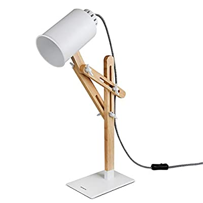 tomons Led Desk Lamp Wooden Swing Arm Designer Table Lamp Bedside Nightstand Reading Light DL1005US-G