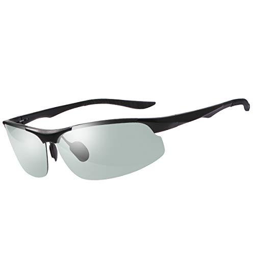 MIRYEA Gafas de Sol Hombre Deportivas Polarizadas Fotocromaticas Para Hombre y Mujer Conducción Ciclismo Moto Pesca Esqui Golf Running Deporte Al Aire Libre Rectangulares Protección 100% UVA UVB