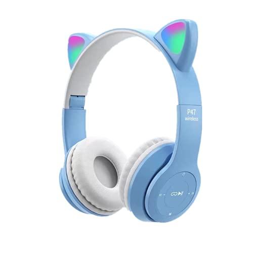 Auriculares inalámbricos para juegos con orejas de gato, auriculares Bluetooth con luz LED,Auriculares plegables para juegos para PC