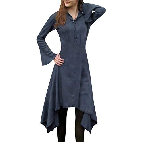 Fannyfuny Damen Kleid Frauen Mode Casual Langarm Lace Up Kleid Lang Blusenkleid Unregelmässig Saum Cocktailkleider Outdoor Lose Elegant Freizeit Kleider Fließendes Kleid Mini Kleider S-5XL Blau Grün