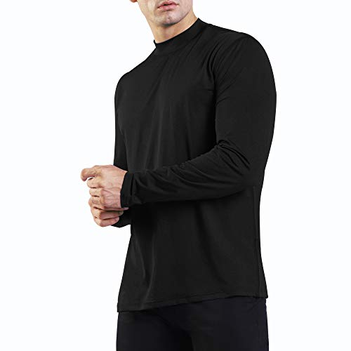Ogeenier Men's Long Sleeve Athletic T-Shirt Mock Neck Running Shirts,Black,M