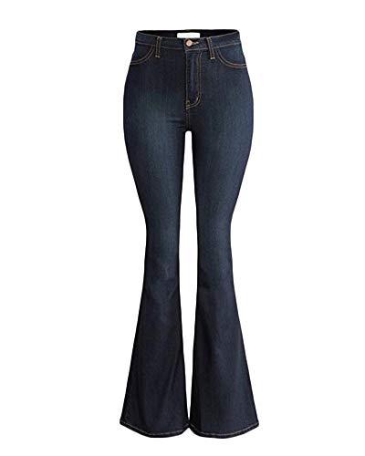 Yonglan Jeans da Donna Vita Alta vestibilità Slim Jeans Elasticizzati Gamba Larga Pantaloni di Jeans Blu Marino S