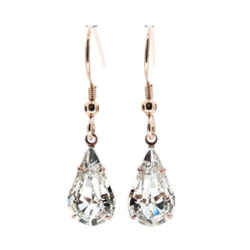 pewterhooter 14k Rose Gold-plated Sterling silver earrings for women made with sparkling teardrop Diamond White crystal from Swarovski. Gift box. Made in the UK.