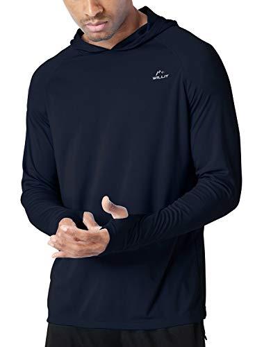 Willit Men's UPF 50+ Sun Protection Hoodie Shirt Long Sleeve SPF Fishing Outdoor UV Shirt Hiking Lightweight Navy Blue XL