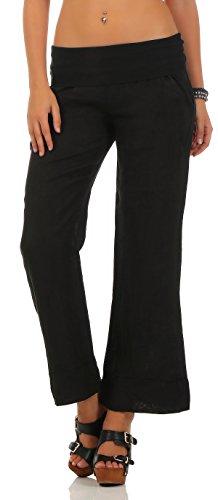 Malito Damen Hose aus Leinen | Stoffhose in Unifarben | Freizeithose für den Strand | Chino - Jogginghose 8064 (schwarz, XL)