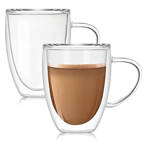 Finnhomy 12oz Double Wall Glass Coffee Mugs Set of 2, Clear Espresso Cups with Handle, Insulated Glass Mug for Coffee, Tea