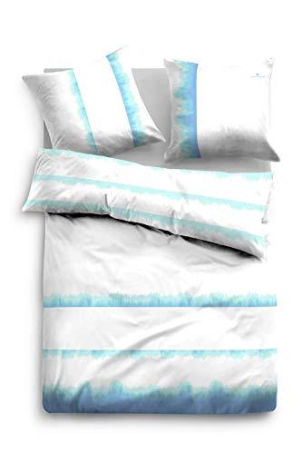 TOM TAILOR 0049962 Bettwäsche Garnitur mit Kopfkissenbezug Linon 1x 135x200 cm + 1x 80x80 cm light blue