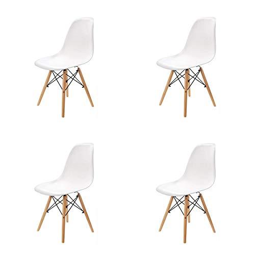 GrandCA Set di 4/6 Sedie,Sedie da Pranzo Sedia da Ufficio Design Nordico Sedia in Stile (Bianco-4)