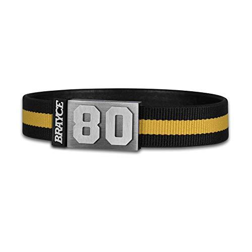 BRAYCE® Trikot am Handgelenk® mit Deiner Trikot Nummer 00-99 I Armband schwarz & gelb I Sportarmband/Teamarmband personalisierbar & handgemacht