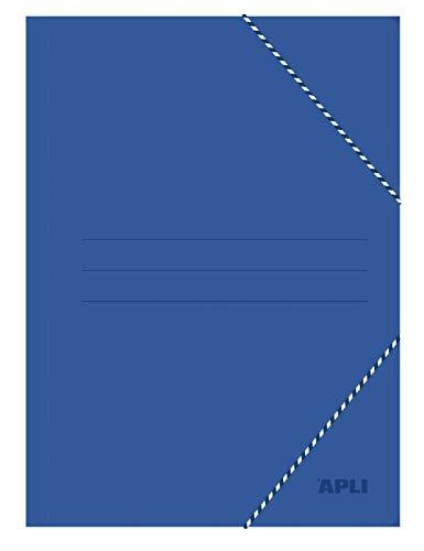 APLI-Carpeta con gomas tamaño folio 3 solapas color azul ⭐