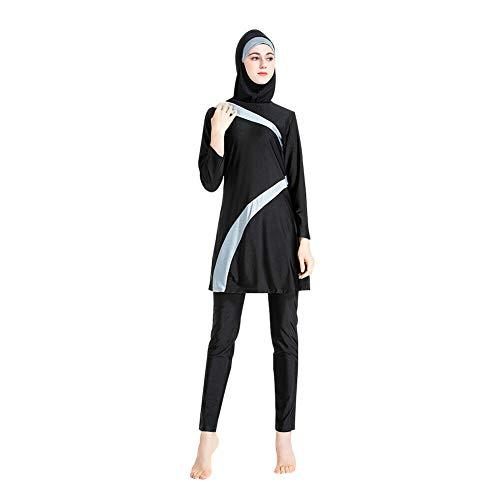 Meijunter Damen Modest Islamische Badebekleidung Muslim Badeanzug Konservative 3-teilige Beachwear mit Hijab