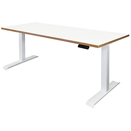 Novigami Schreibtisch elektrisch höhenverstellbar Ototo | BxT 1800 x 800 mm | Weiß-Multiplex | Tischgestell Stehtisch Bürotisch Tischplatte