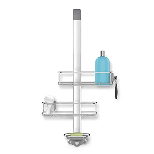 simplehuman Over-Door Shower Caddy, Stainless Steel and Anodized Aluminum