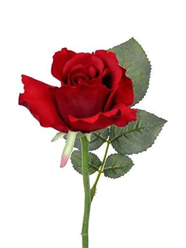 artplants.de Künstliche Mini Rose Elli, Blätter, rot, 30cm, Ø 6cm - Kunstrose - Textilblume