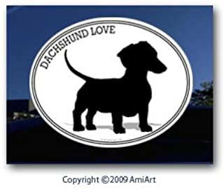 AmiArt Dog Decal - Dachshund - I Love My Dachshund - Bumper Sticker Decal.