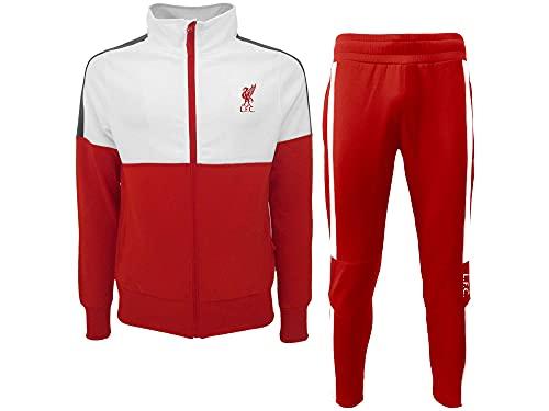 Roger's Tuta Ufficiale Completa del LiverpoolFC. 100% Poliestere. Taglie da Adulto e da Bambino. Prodotto con Licenza Originale. Colore Rosso/Bianco. (S)