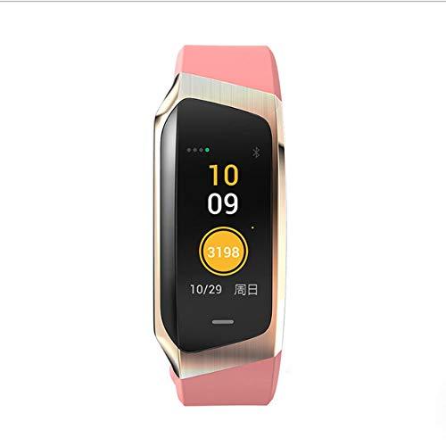 YFWDY Fitness Tracker Mode Kleur Bluetooth Waterdichte Smart Armband Hartslag- en bloeddrukmeter Sport Stappen Zittende herinnering roze